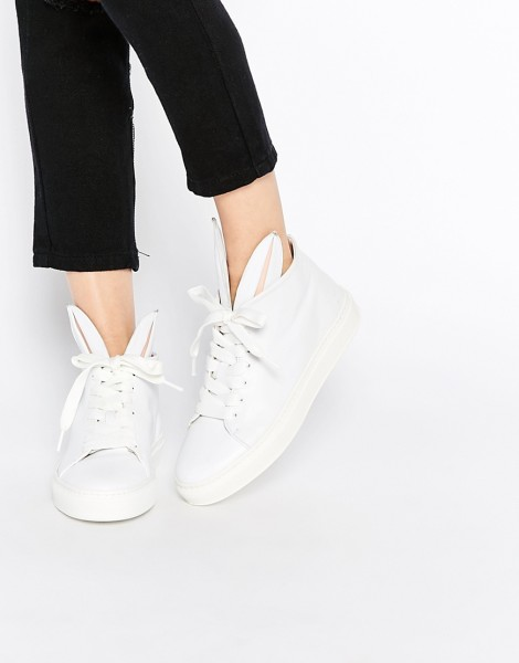 Minna Parikka White Leather Bunny Ears High Top Trainers (Asos)